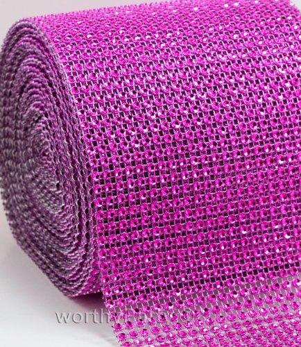Hot Pink/Fushia Diamond Crystal Sparkling Effect Mesh Ribbon Embellishment -