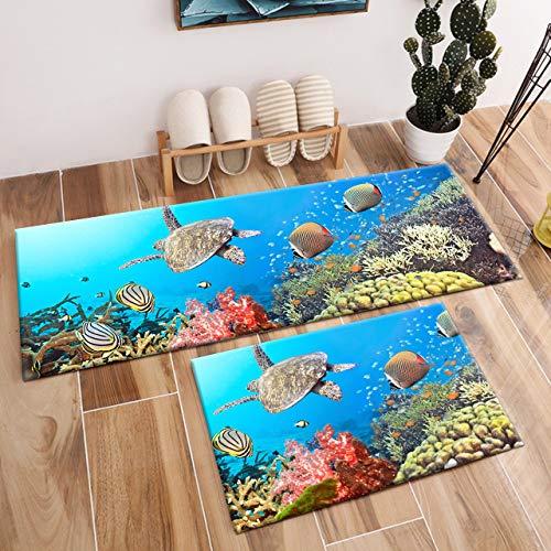 HVEST 2pcs Sea Turtle Area Rug Set Tropical Fish and Coral Reef Under Blue Ocean Carpet Underwater Animal Non-Slip Runner Rug for Living Room Bedroom Kitchen Floor Mat,(1'4