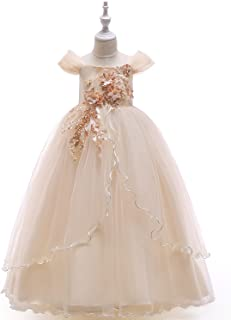 XCXDX Abito da Principessa in Tulle Monospalla, Abito Formale da Bambina, Elegante Costume da Palcoscenico, Abito da Sera 8027325_Beige-120cm