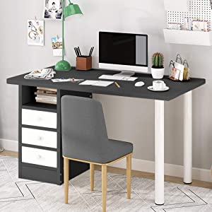 White Brown Computer Desk with Drawer Laptop Children Study Writing Table Simple Home Office Furniture Kids Workstation Stylish Dressing Table Locker (Black)