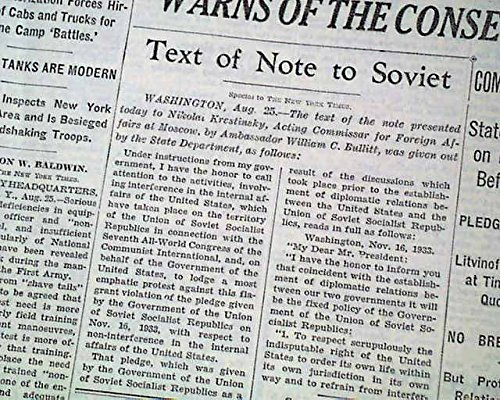 RUSSIA Interfering with U.S. Government WARNING w/ America Note 1935 Newspaper THE NEW YORK TIMES, August 26, ()