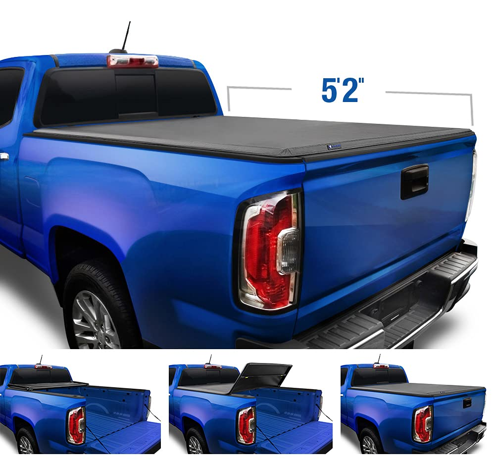 """Tyger Auto T3 Soft Tri-Fold Truck Bed Tonneau Cover Compatible with 2015-2021 Chevy Colorado / GMC Canyon   Fleetside 5'2"""" Bed (62"""")   TG-BC3C1039 , Black"""