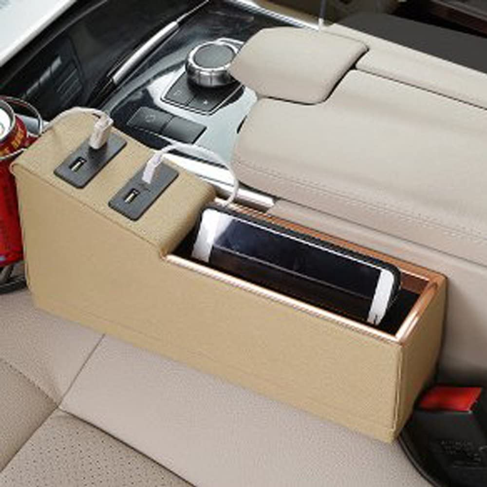 Drive Side Cup Holder PU Leather Caddy Slit Gap Filler Console Side Pocket Seat Storage Organizer with 4 USB Ports