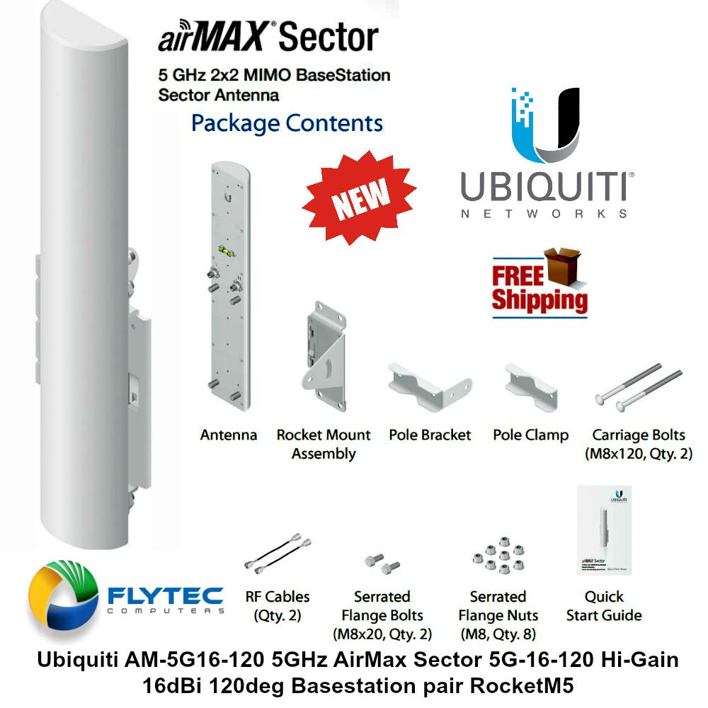 Ubiquiti 2x2 MIMO BaseStation Sector Antenna AM-5G16-120 by Ubiquiti Networks