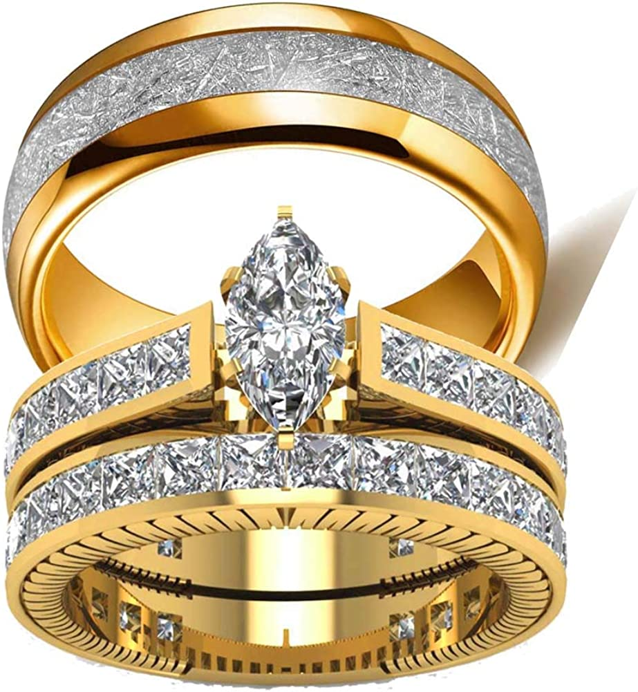 Amazon Com Wedding Ring Set Two Rings His Hers Couples Rings Women S 10k Yellow Gold Filled White Cz Wedding Engagement Ring Bridal Sets Men S Titanium Wedding Band Jewelry