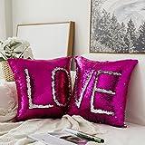 Pack de 2cambia de color, miulee lentejuelas funda de almohada reversible funda de cojín Algodón de lino sofá, para el hogar o la oficina, en forma de sirena funda para decoración 16x 16inches 40x 40cm, Rose Red+silvery, 16''x16''
