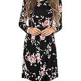 KOERIM Women's Sexy V-Neck Cold Shoulder Flower Print Boho Summer Dress