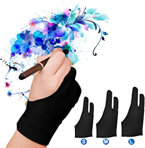 Capaboo Artist Glove Pack of 2 - Drawing Glove Graphic Drawing Tablet 2-Fingers Glove Artist Gloves for Light Box/Graphic Tablet/Pen Display/iPad Pro Pencil (M)