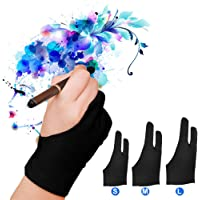 luckstar Artista Guante Pack de 2–anti-fouling Guante de dibujo gráfico tablet 2-fingers Guante Guantes De Artista para caja de luz/Graphic Tablet/Pen Display/iPad Pro lápiz, 1