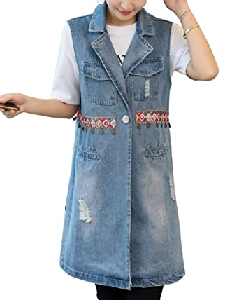 23c92df0e7214 Women s Casual Lapel Loose Fit Sleeveless Vest Buttoned Jeans Outwear  Ethnic Style Long Cowboy Waistcoat Blue