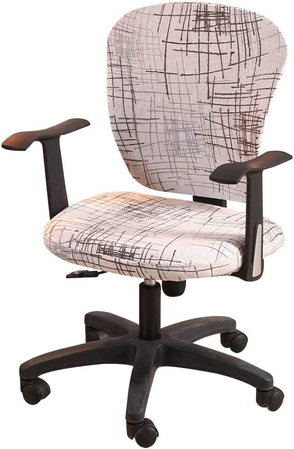Jinzio Computer Office Chair Cover - Split Protective & Stretchable Cloth Polyester Universal Desk Task Chair Chair Covers Stretch Rotating Chair Slipcover, Style 15
