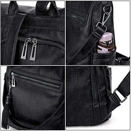 Rucksack Theft black Convertible Anti Bag Tassels Shoulder Leather PU UTO Ladies Lavender Purse Backpack Washed Women 480 aPEqqwf