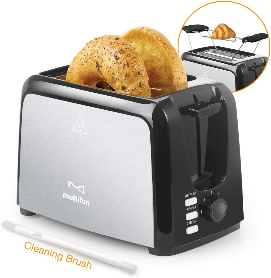 2 Slice Toaster, Multifun Stainless Steel Toaster with Warm Rack, Removable Crumb Tray, 7 Bread Shade Settings, Reheat/Cancel/Defrost Function, Extra Wilde Slot for Bagels, Waffle, etc. UL Certified