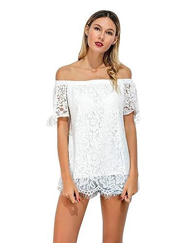 Sentao Mujer Encaje Camiseta Off Shoulder Moda Blusa De La Tapa Camiseta