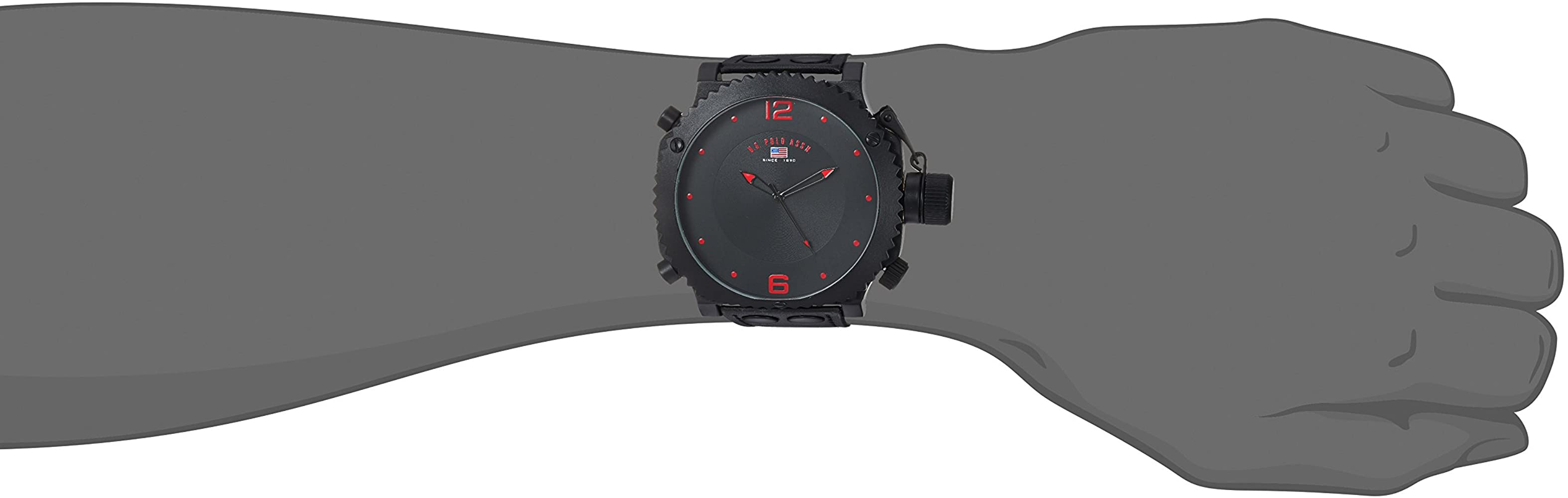 US Polo Assn Classic Men US4023 Watch with Black Leather Band