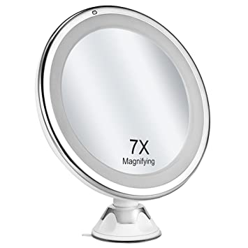 Oak Leaf 7X Magnification LED Lighted Makeup MirrorBright Shaving Bathroom Vanity Mirror With Strong