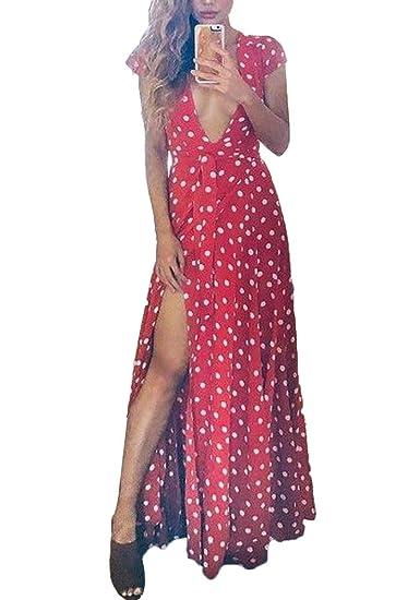 Vestidos para Mujer Verano V-Cuello Boho Largo Noche Fiesta Vestido de Coctail Vestido de Playa Sundress: Amazon.es: Ropa y accesorios