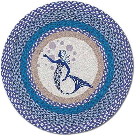 Earth Rugs Blue Mermaid 27 Hand Printed Round Braided Floor Rug RP-527