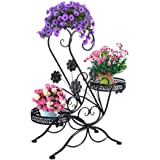 "3-Tiered Scroll Classic Plant Stand Decorative Metal Garden Patio Standing Plant Flower Pot Rack Display Shelf Holds 3-Flower Pot with Modern ""S"" Design (Black)"