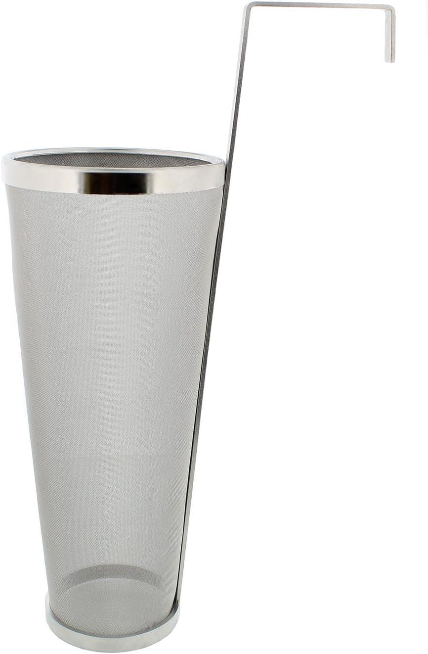Brewing 1 Gallon Hopper Spider Strainer, Stainless Steel 300 Micron Mesh – Homebrew Hops Beer & Tea Kettle Brew Filter
