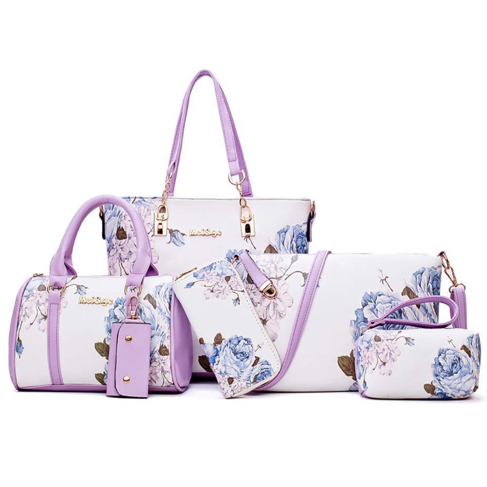 Huasen Evening Bag Women Shoulder Bags Handbag Crossbody Bag Printing Wallet Handbag Keychain Detachable Adjustable Strap Party Handbag (Color : White, Size : 12.2x5.1x11.8INCH)