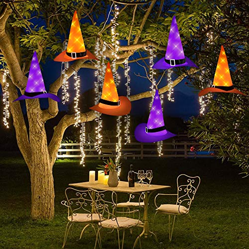 Joinart Halloween String Lights Halloween Decorations 6pcs Witch Hats 30ft 8 Modes Light String for Indoor Outdoor Decorations Halloween Light Décor for Tree Patio Garden Yard Party Décor Home Décor