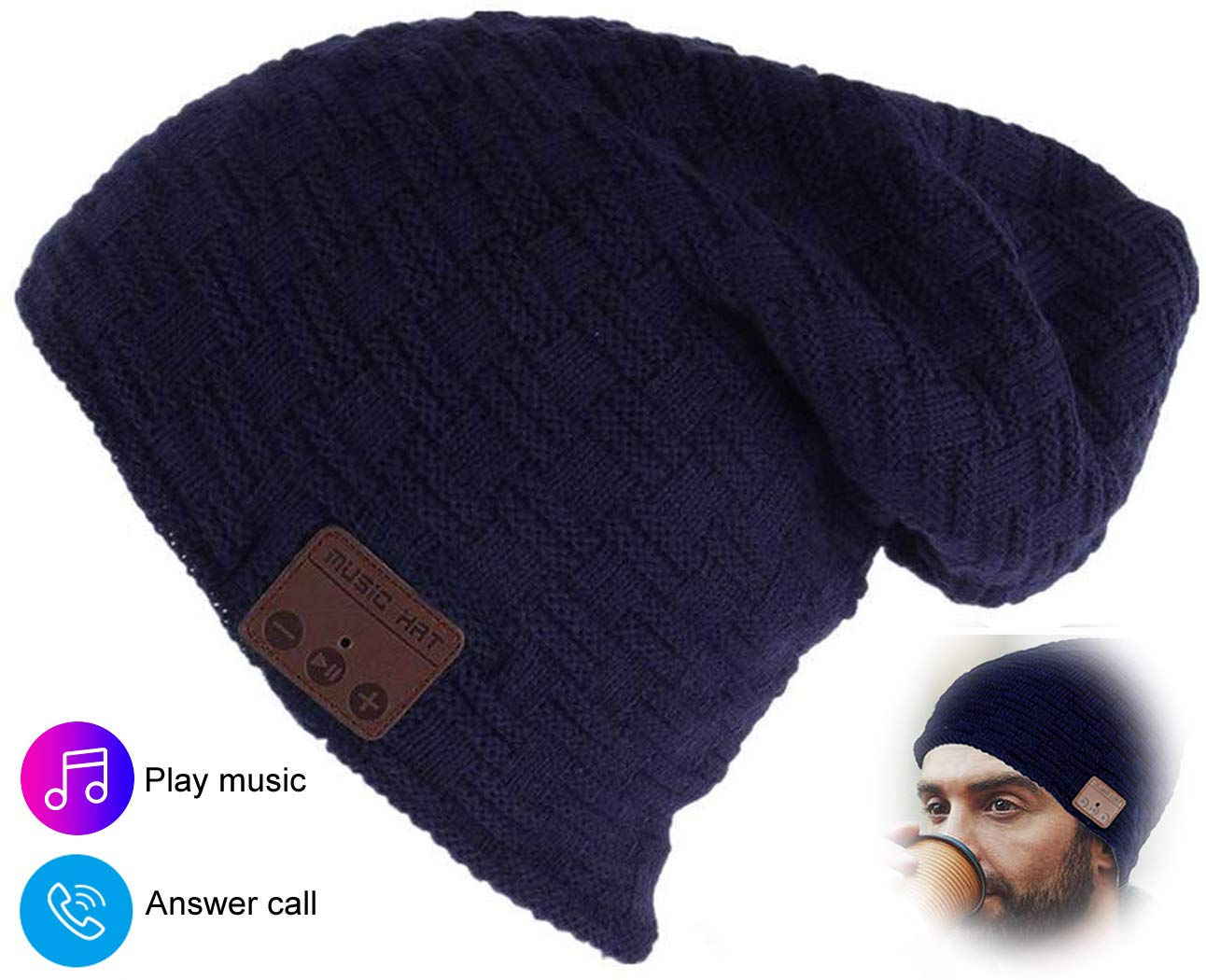 Bluetooth Beanie Bluetooth Hat Women Men Boys Winter Warm Beanie Hats with 5.0 Wireless Headphones Musical Knit Cap for Hands Free Call Music Running Skiing Christmas Birthday Thanksgiving Day Gifts