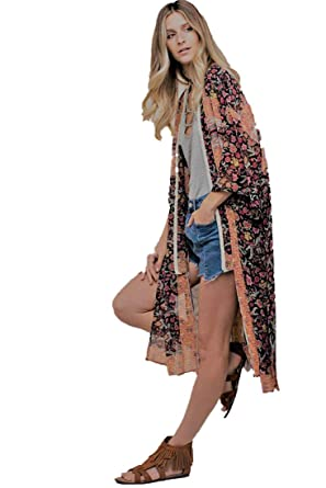 440156962cb Kori America Floral Medley Free People Style Long Chiffon Cardigan Kimono  Cream and Black Print Tribal