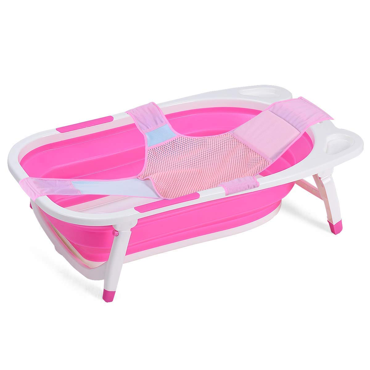 BABY JOY Baby Folding Bathtub, Infant Collapsible Portable Shower Basin (Pink)