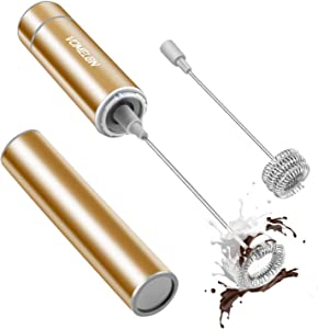 Milk Frother Handheld, Battery Operated Coffee Foamer Drink Mixer with 2 Stainless Steel Electric Whisks for Coffee, Latte, Cappuccino, Hot Chocolate, Protein, Batteries Included, Golden