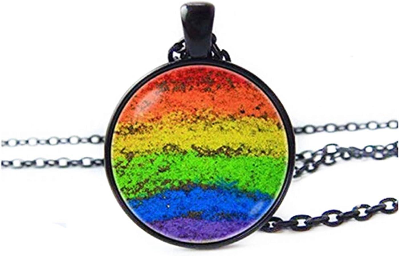 Rainbow necklace rainbow baby gift colourful necklace button necklace rainbow lgbt, necklace rainbow rainbow bridge rainbow chain