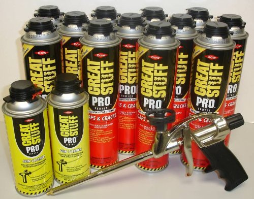 Dow Pro Gaps and Cracks 24 oz Gun Foam (12) + Great Stuff Pro 14 Dispensing Gun (1)+Great Stuff Pro foam Gun Cleaner (2) by Dow Great Stuff