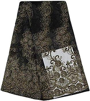 A697 - Tela de encaje africano bordada con encaje francés de alta calidad para vestido de fiesta de boda: Amazon.es: Hogar