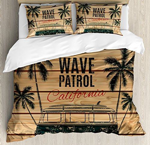 Ambesonne Surf Duvet Cover Set Queen Size, Vintage Minivan with Tropical Trees on Wooden Planks Freedom Fun Wave Weekend Theme, Decorative 3 Piece Bedding Set with 2 Pillow Shams, Brown Teal