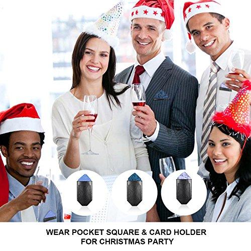 Pocket Squares For Men,Silk Men's Suit Handkerchiefs with Pocket Square Holder Set For Wedding Party Men Gift by pocket square (Image #7)