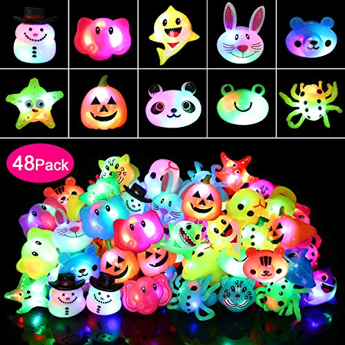Flashing Rings For Parties (wellvo 48 Pack Light up Rings Party Favors for Kids Flashing Led Toys Glow in The Dark Party)