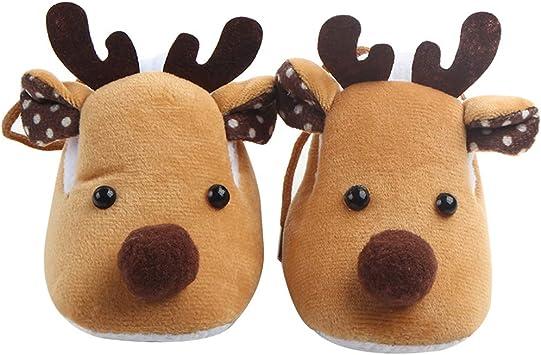 Motivo: Cervo PRENKIN Pantofole morbide per Neonati Scarpine da Neonato Marrone
