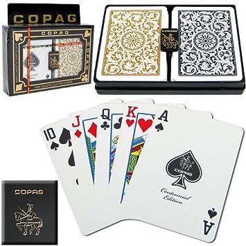Copag Poker Size Regular Index 1546 Playing Cards 2 decks (Black Gold Setup)