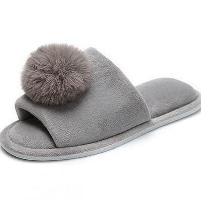 Women's Coral Velvet Soft Open Toe House Indoor Slippers Spa Slide Slipper (8-9, Ball-Grey) | Slippers