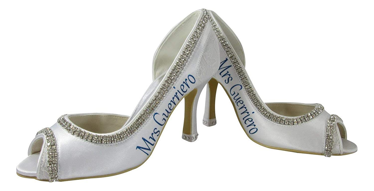 choose size and height Royal Blue On White or Ivory 3.5 inch wedding heels