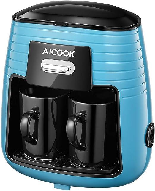 Aicook - Cafetera de filtro con un solo toque con 2 tazas de cerámica, cafetera de goteo