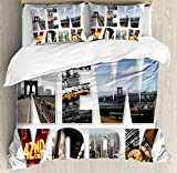 Ambesonne NYC Decor Duvet Cover Set, New York City Themed Collage Featuring with Different Areas of the Big Apple Manhattan Scenery, 3 Piece Bedding Set with Pillow Shams, Queen/Full, Multi