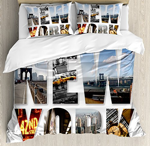 - Ambesonne NYC Decor Duvet Cover Set, New York City Themed Collage Featuring with Different Areas of The Big Apple Manhattan Scenery, 3 Piece Bedding Set with Pillow Shams, Queen/Full, Multi