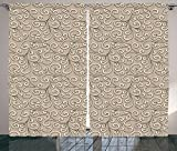 Beige Decor Curtains Floral Swirls Damask Pattern Classic Victorian Style In Retro Background Antique Design Living Room Bedroom Decor 2 Panel Set French Beige