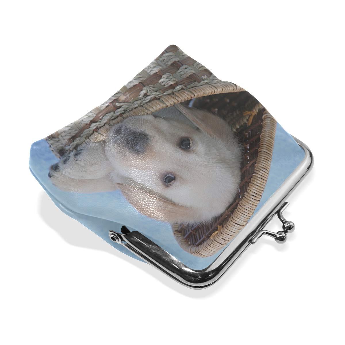 Rh Studio Coin Purse Clasp Closure Dog Labrador Basket Muzzle Print Wallet Exquisite Coin Pouch Girls Women Clutch Handbag Exquisite Gift