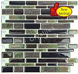 Crystiles Peel and Stick Self-Adhesive Vinyl Wall Tiles, Multi-Color Marbles Style, Item# 91010888, 10\