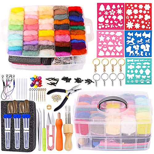 254 Pcs Needle Felting Kit - Complete Needle Felting Tools and Supplies with Felt Wool 50 Colors, Felt Molds, High Density Foam Pad Storage Box for DIY Craft Animal Home Decoration