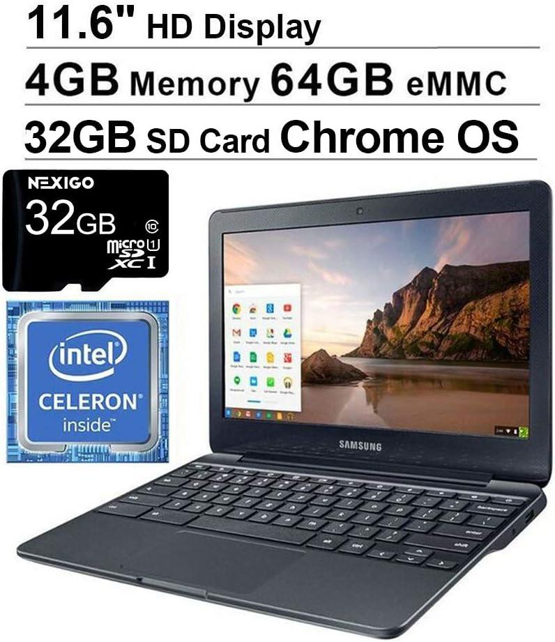 2020 Samsung 11.6 Inch Non-Touch Chromebook Laptop  Intel Celeron N3060 up to 2.48 GHz  4GB LPDDR3 RAM  64GB eMMC  WiFi  Bluetooth  HDMI  Chrome OS + NexiGo 32GB SD Card