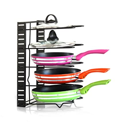 Amazon houzemann adjustable pan organizer rack foldable pot houzemann adjustable pan organizer rack foldable pot racks for kitchen pot lid holder lid rest workwithnaturefo
