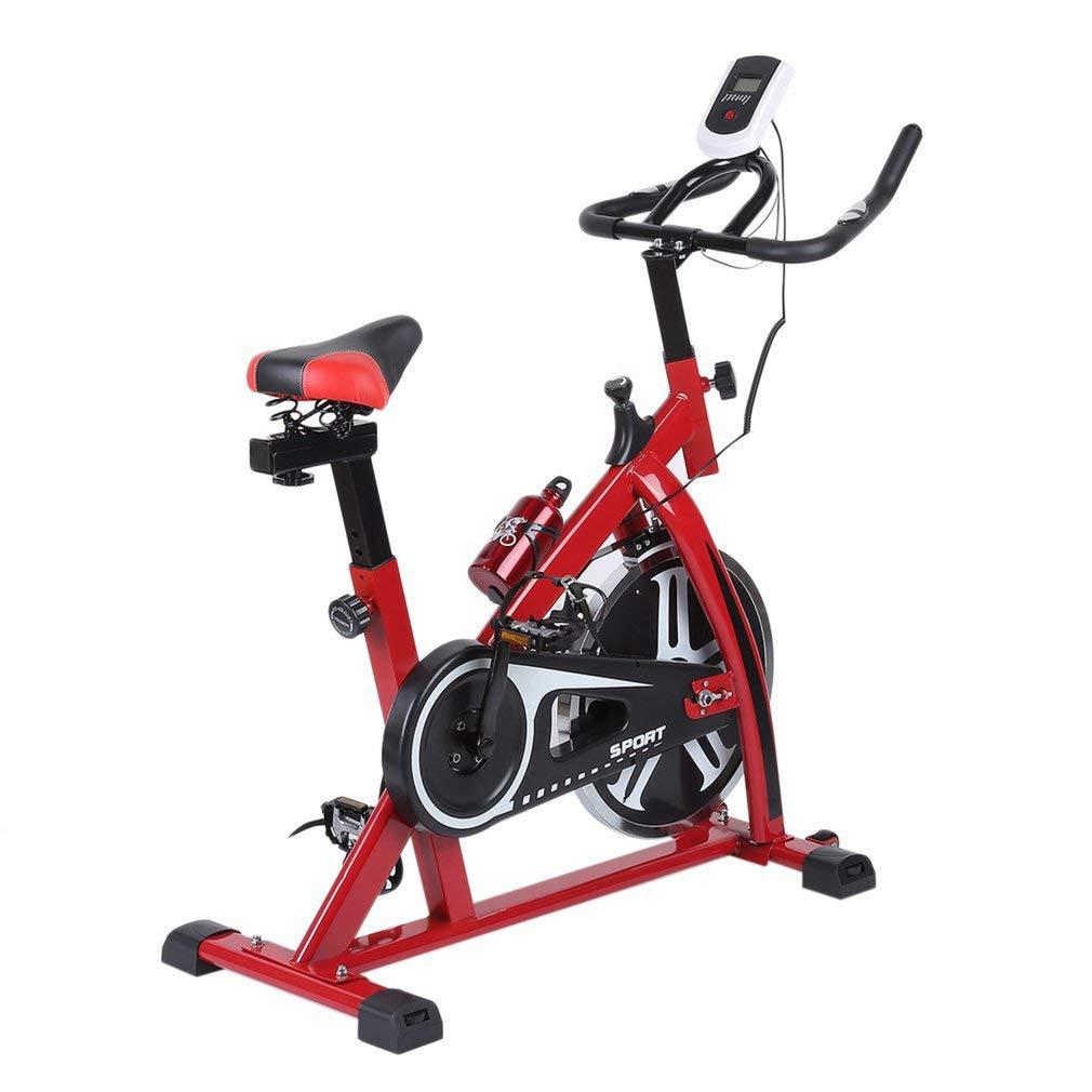 Kitechildhrrd SP6901 Hometrainer LCD Fitnessfahrrad Heimtrainer Fitness Bike Indoor Cycle Trimmrad Cycling Fitnessbike Fahrradtrainer Fahrrad Ergometer bis 120 KG Rot